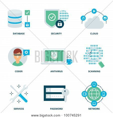 Computer Network And Security Vector Icons Set Modern Flat Style