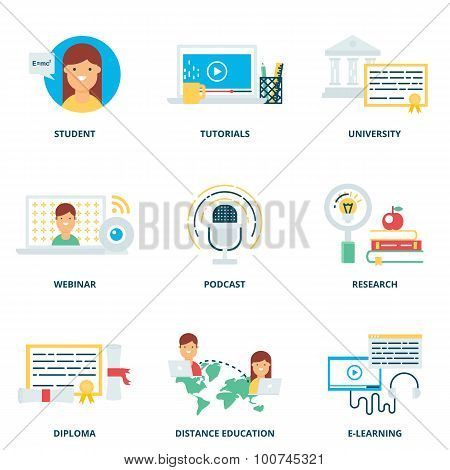 Education And E-learning Vector Icons Set Modern Flat Style