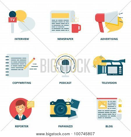Journalism And Mass Media Vector Icons Set Modern Flat Style
