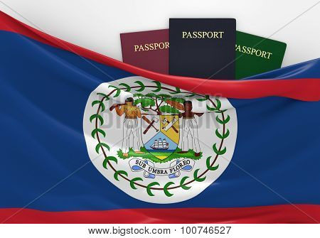 Travel and tourism in Belize, with assorted passports