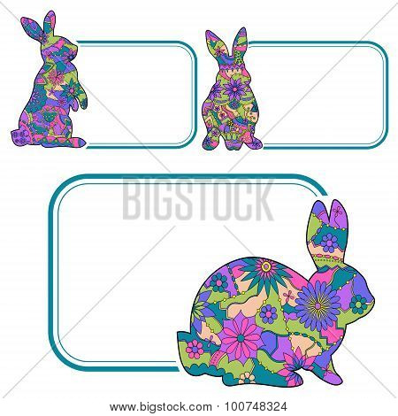 Banner with colorful rabbits