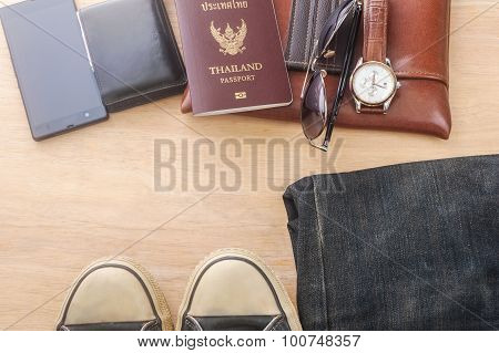 Outfit Of Traveler, Different Objects On Wooden