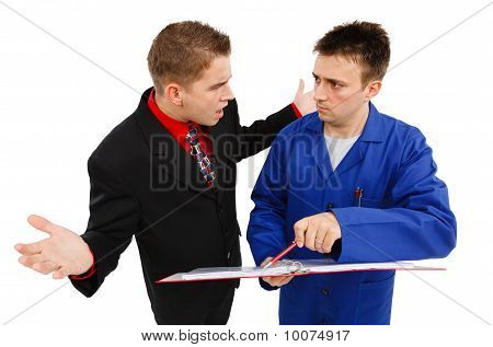 Impatient Business Man With Employee