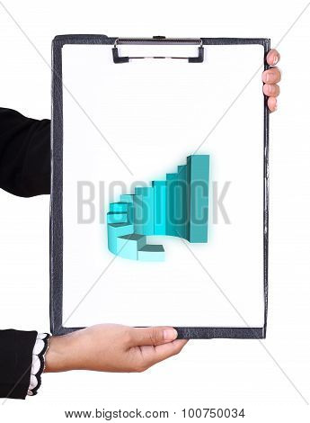 Business Hand Holding A Clipboard With Business Graph