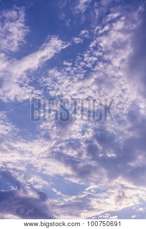 Beauty Blue Sky With Clouds, Texture And Background