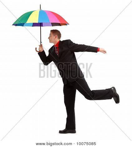 Man With Colorful Umbrella