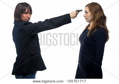 Man with gun threatening young woman