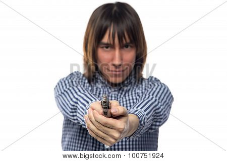 Brunette man with the gun