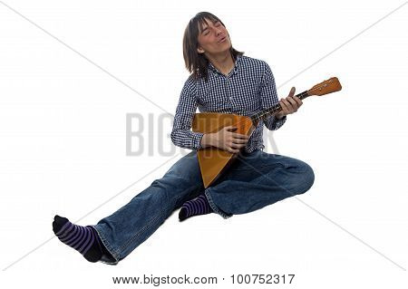 Singing man with balalaika