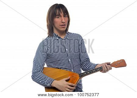Brunette man with balalaika
