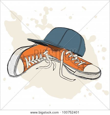 Vector Illustration With Sneakers And Baseball Cap