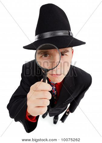 Young Detective With Magnifier