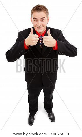 Happy Man Showing Double Thumbs Up
