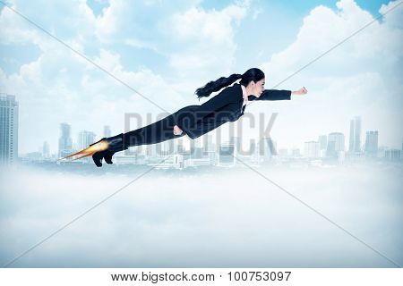 Business Woman Flying With Rocket On Her Shoes