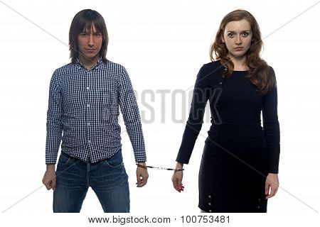 Young man and unhappy woman