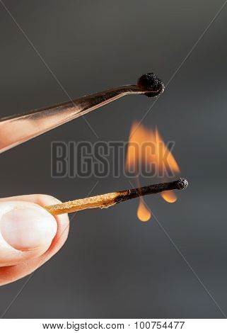 Match Flame Ignites Silk Tissue Sample