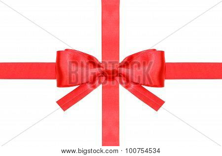 Red Bow With Square Cut Ends On Intersection