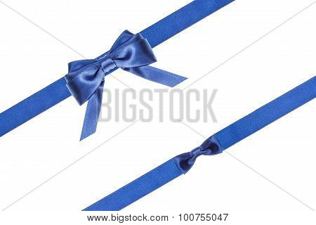 Blue Satin Bows And Ribbons Isolated - Set 32
