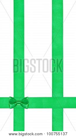 Little Green Bow On Three Vertical Satin Bands