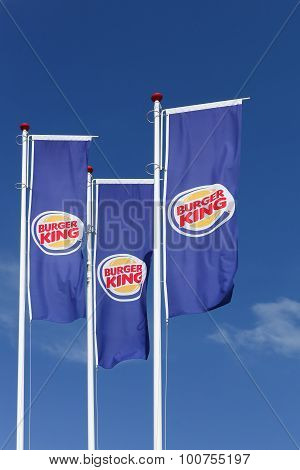 Flags with logo of the fast food chain Burger King