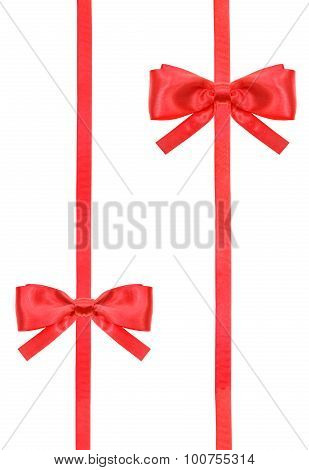 Red Satin Bow Knot And Ribbons On White - Set 51