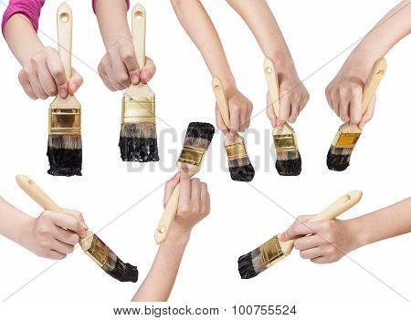 Set Of Hands With Flat Paint Brush With Black Tip