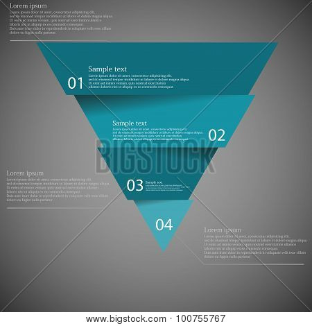 Dark Illustration Inforgraphic With Triangle Divided To Four Parts