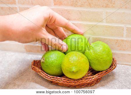 Hand Grab Unripe Lemon