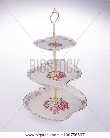 Tray. Three Tier Serving Tray On A Background.