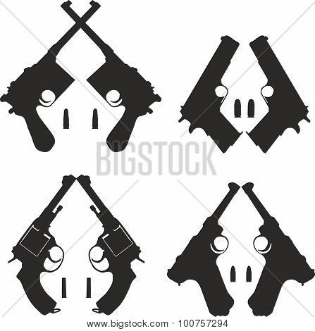 Icons set of pistols with bullets.