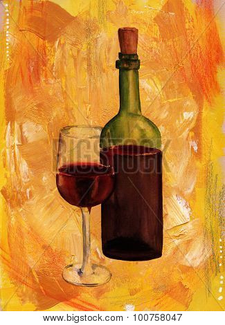 A painting of a bottle and a glass of red wine on an artistic golden background