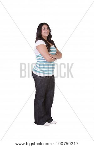Cute Teenager With Her Arms Crossed