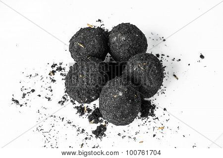 organic salted eggs covered by natural ashes