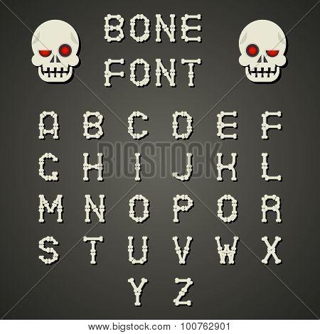 Cartoon Bone Alphabet A to Z Flat Design Font Symbol Icon Vector Illustration