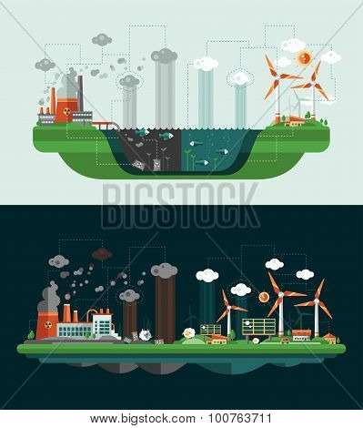 Set of modern flat design conceptual ecological illustrations with icons, infographics elements. Was