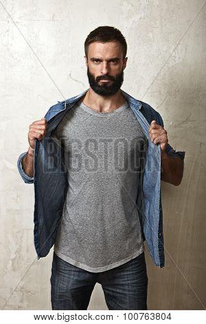 Bearded man wearing blank grey t-shirt
