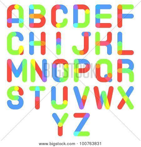 Round Font Alphabet A to Z Minimal Symbol Icon Vector Illustration