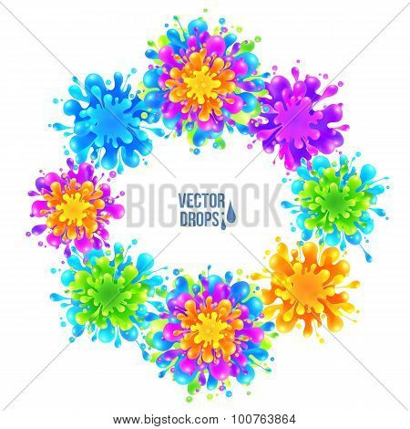 Bright colorful vector paint splashes round frame