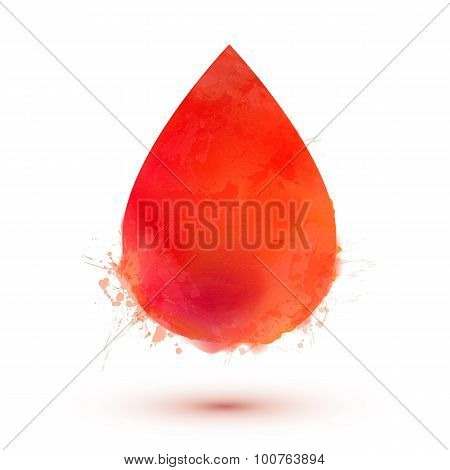 Red watercolor vector blood drop isolated on white