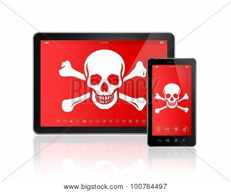 Digital Tablet Pc And Smartphone With A Pirate Symbol On Screen. Hacking Concept