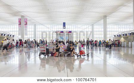 Passengers In The Hong Kong International Airport