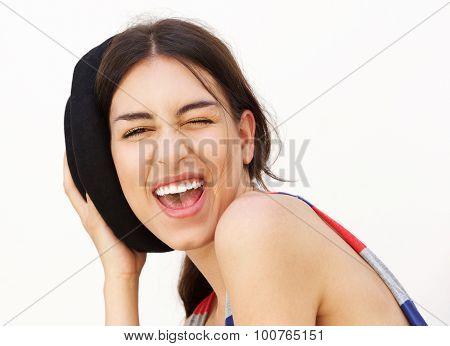 Smiling Girl Winking Eye