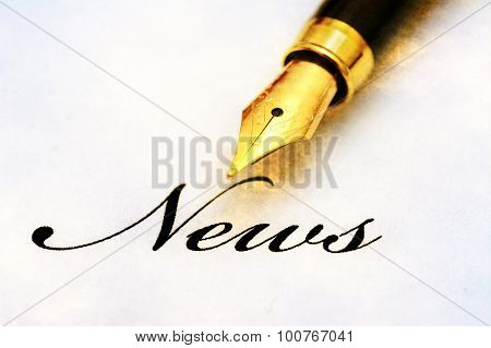 News Text And Fountain Pen