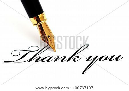 Thank You Text And Fountain Pen