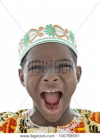 Afro boy screaming, ten years old, isolated