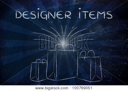 Designer Items (shopping Bags And Retro Rays)