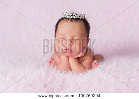 Newborn Baby Girl Wearing A Dainty Rhinestone Crown