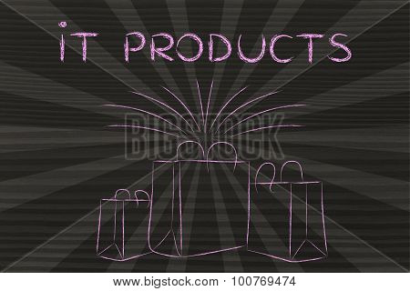 It Products (shopping Bags And Retro Rays)