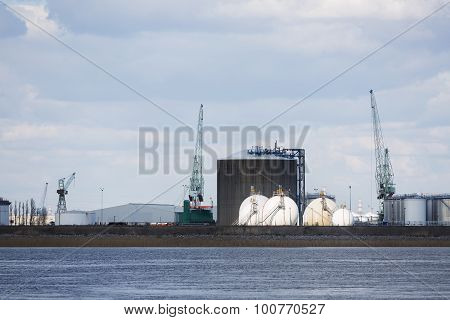 Antwerp Port Oil And Gas Storage Tanks