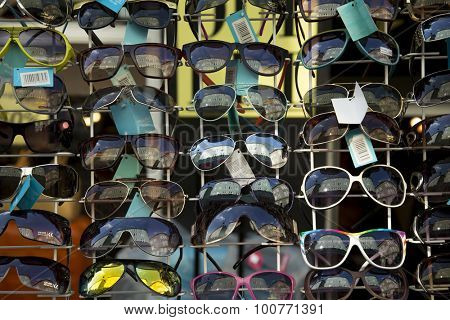 COPENHAGEN, DENMARK-SEPT 3, 2015:  Display full of new sunglasses on sale on a street in the old area in Copenhagen, Denmark